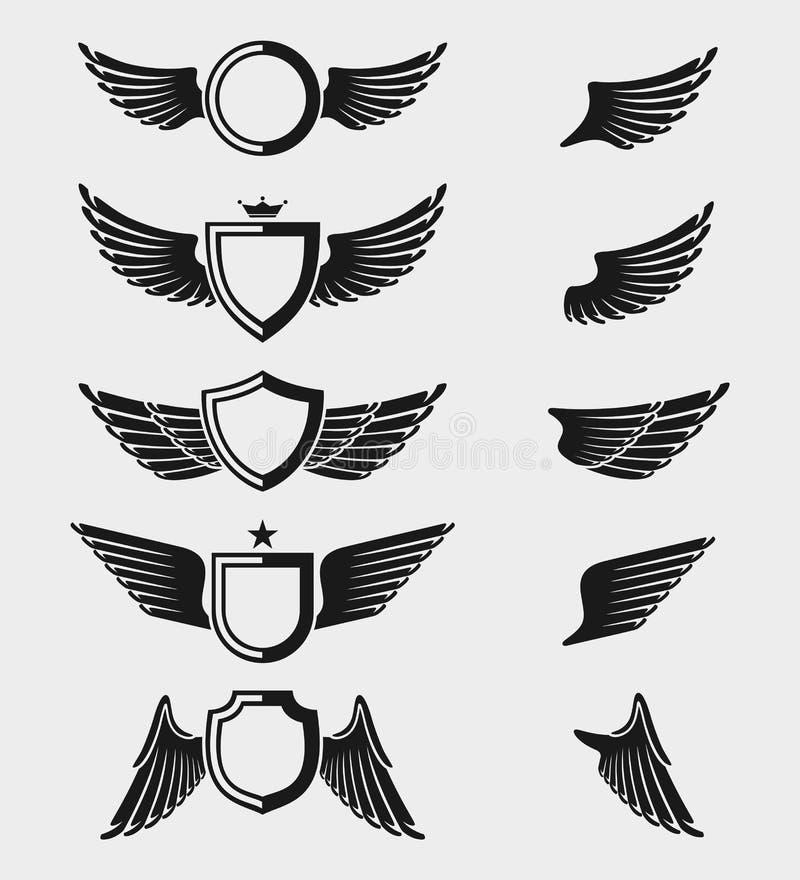 Le ali hanno impostato Vettore illustrazione vettoriale