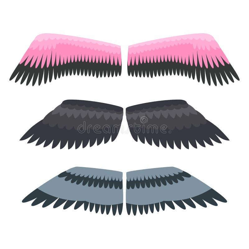 Le ali hanno isolato il vettore animale di volo di libertà dell'uccello del pignone della piuma illustrazione vettoriale