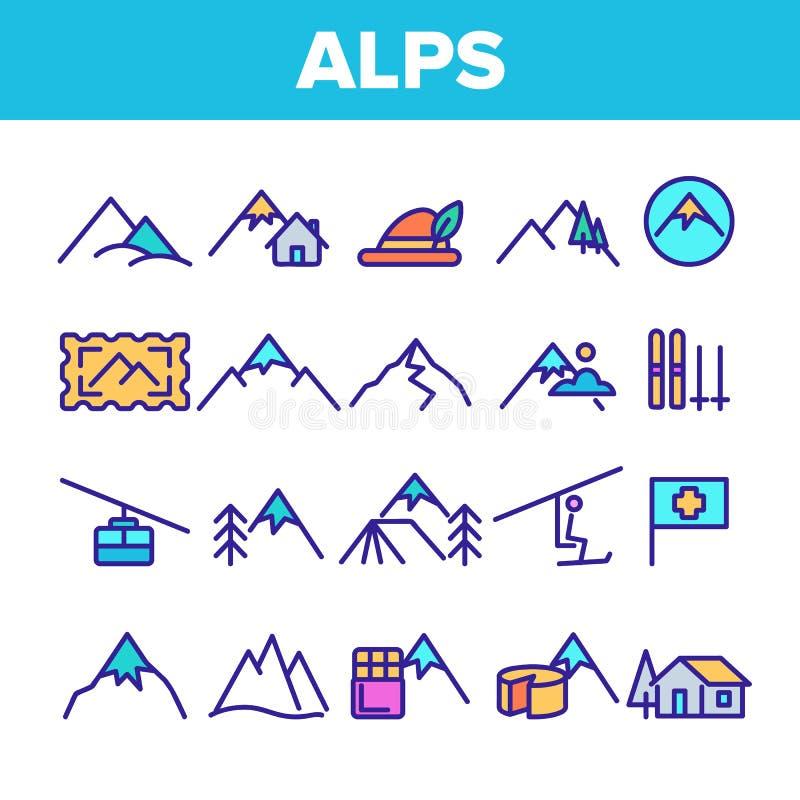 Le alpi della montagna di colore firmano il vettore dell'insieme delle icone illustrazione vettoriale