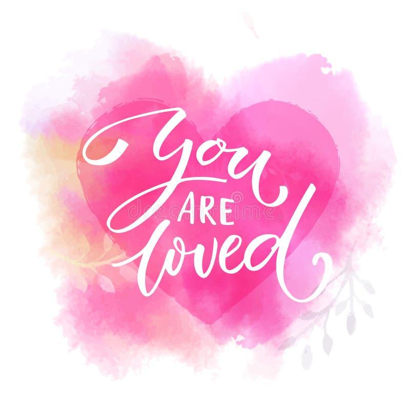 Le aman Refrán romántico en corazón rosado de la acuarela Caligrafía moderna libre illustration