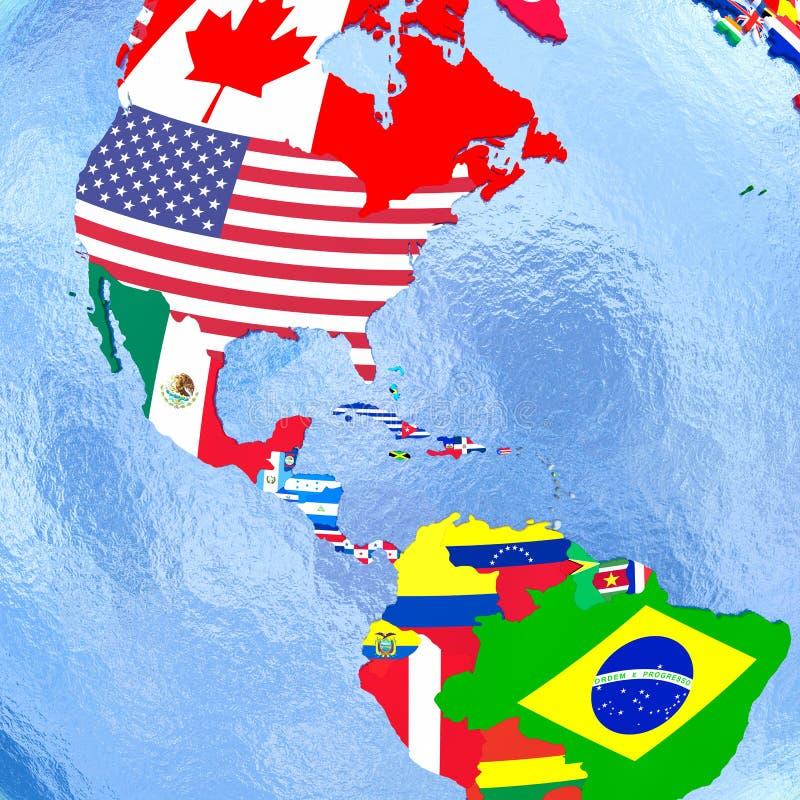 Le Americhe sul globo politico con le bandiere illustrazione di stock