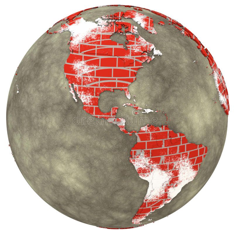 Le Americhe sulla terra del muro di mattoni illustrazione vettoriale
