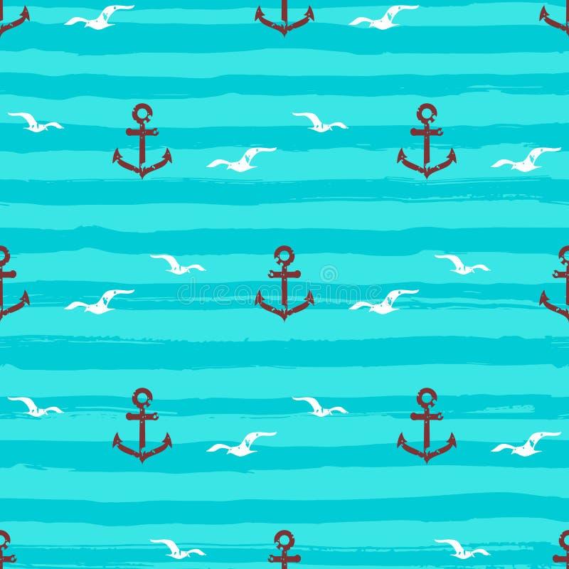 Le ancore senza cuciture del modello marino gull le icone e le bande ondeggia Fondo del turchese, vettore dell'acquamarina royalty illustrazione gratis
