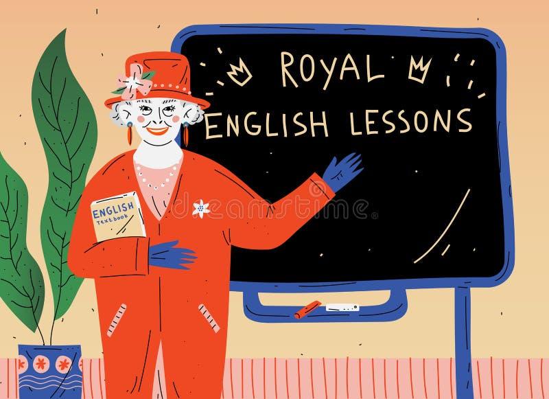 Le?on anglaise Portrait de professeur près de tableau noir dans la salle de classe illustration libre de droits