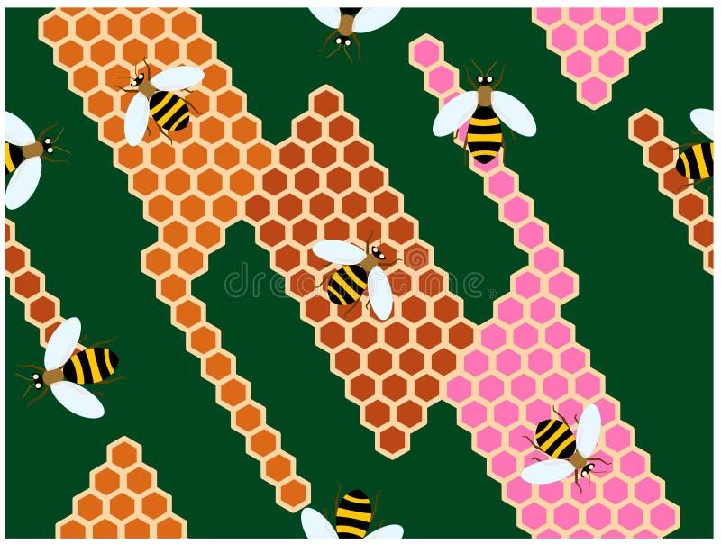 Le api che scalano sugli alveari variopinti illustrazione vettoriale