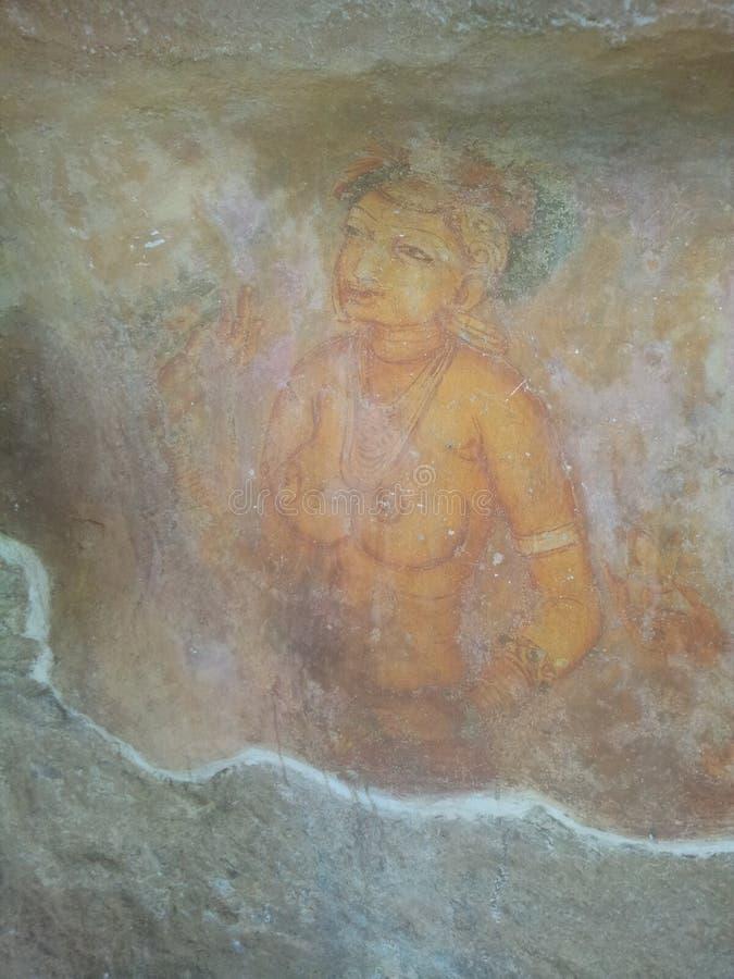 Le arti delle donne di Sigiri nella roccia di seegri fotografia stock
