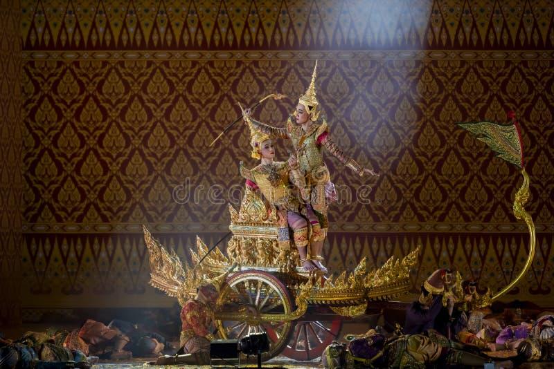 Le arti dello spettacolo di Khon mostrano il ballo tailandese classico fotografie stock