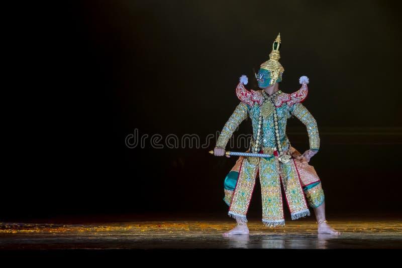 Le arti dello spettacolo di Khon mostrano il ballo tailandese classico immagine stock libera da diritti