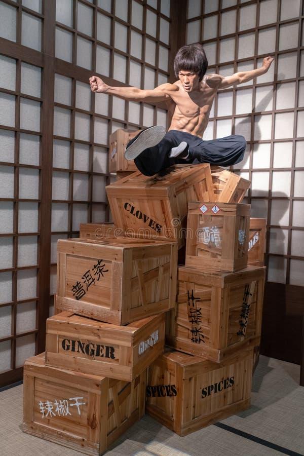 Le arti marziali del museo della cera di Bruce Lee all'interno scolpiscono fotografie stock libere da diritti
