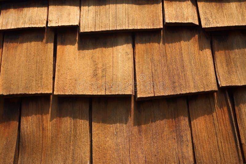 Le assicelle di legno del cedro In su-Si chiudono fotografia stock libera da diritti