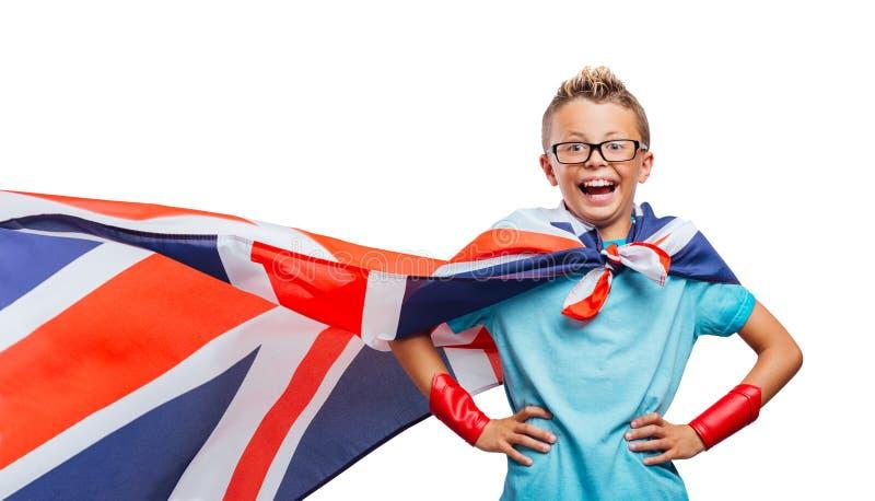 Le att posera för superhero arkivbild