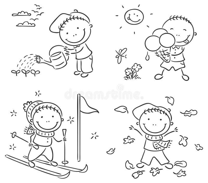 Le attività del ragazzo durante le quattro stagioni royalty illustrazione gratis