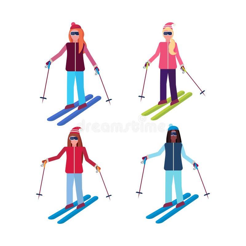 Le attività di sci di sport delle donne stabilite mescolano le ragazze della corsa che indossano le sportive femminili della racc royalty illustrazione gratis