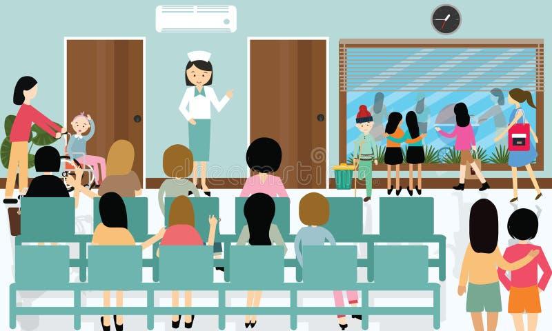 Le attività occupate del corridoio dell'ospedale curano il paziente in medico aspettante della coda illustrazione di stock