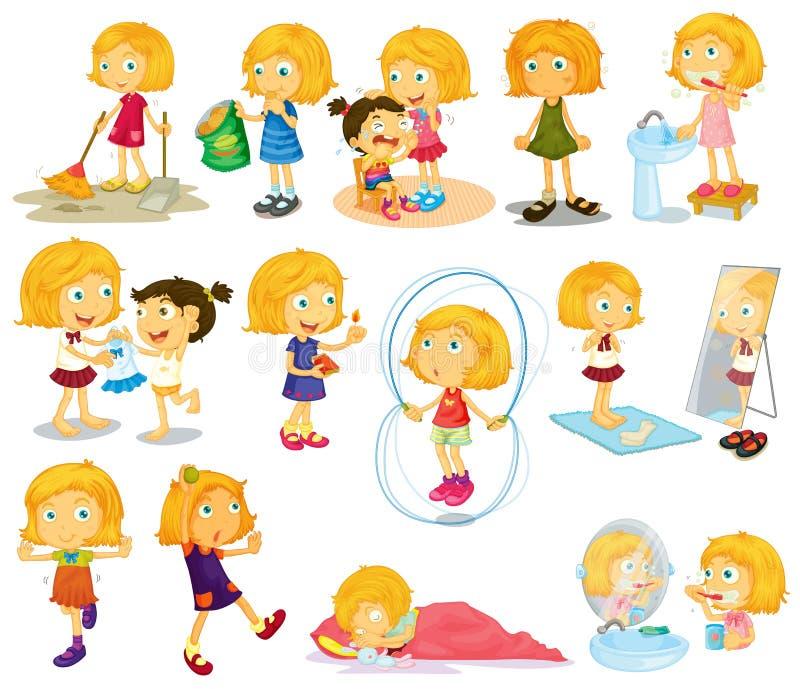 Le attività quotidiane dei giovani blondie royalty illustrazione gratis