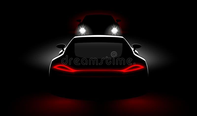 Le automobili ad una riunione si schiantano nello scuro con i fari ed i fanali posteriori illustrazione di stock