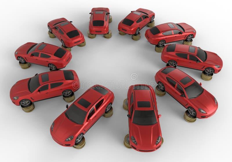 Le automobili sulla moneta impila la matrice circolare