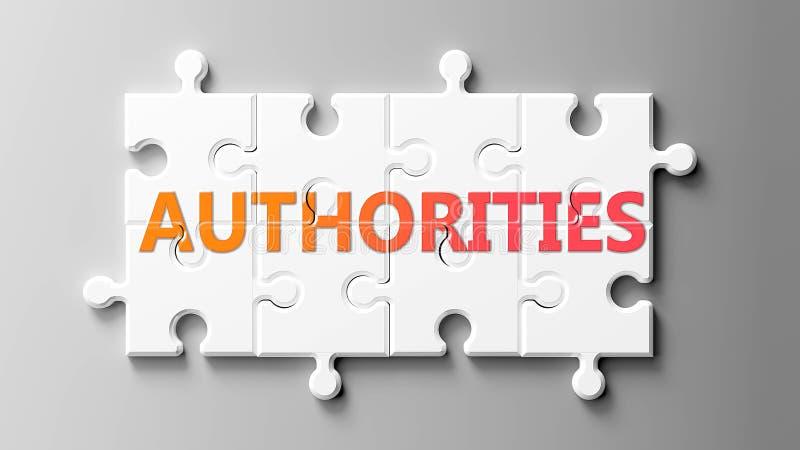 Le autorità sono complesse come un puzzle - nella foto come 'Autorità' con la parola 'Autorità' su un puzzle per mostrare che le  illustrazione di stock
