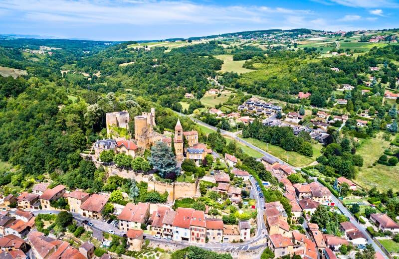Le ` Azergues, un château médiéval de Chatillon-d de château dans le département du Rhône des Frances images stock