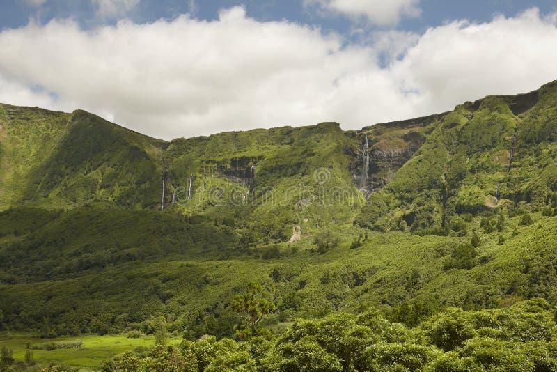 Le Azzorre abbelliscono con le cascate e le scogliere nell'isola del Flores Po immagine stock