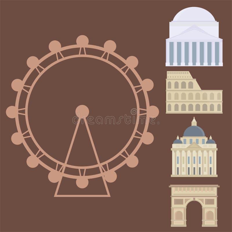 Le bâtiment célèbre et l'euro d'euro de voyage de tourisme conception de voyage risquent l'illustration internationale de vecteur illustration stock