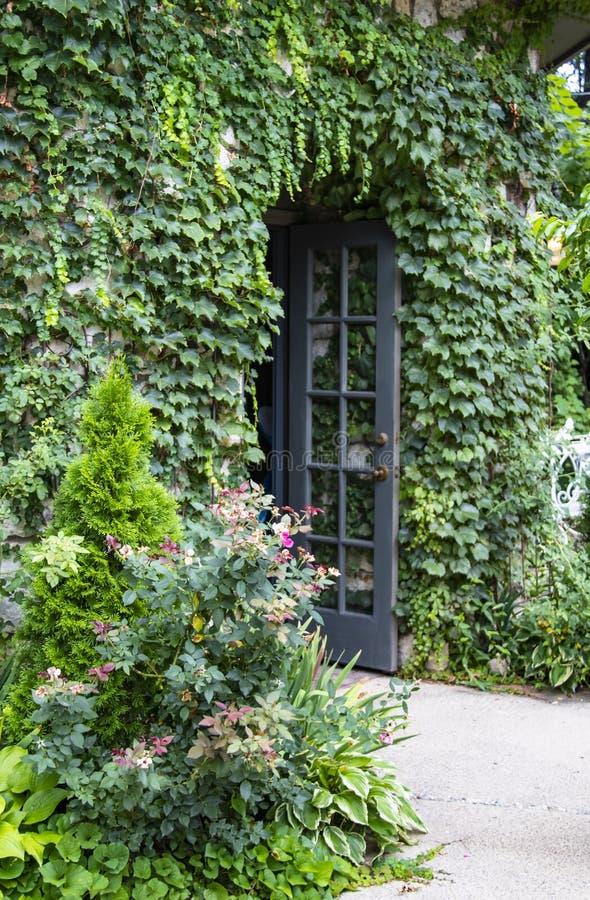 Le bâtiment couvert par vigne avec des fleurs et les roses sauvages et ouvrent la porte française - foyer sélectif photos stock