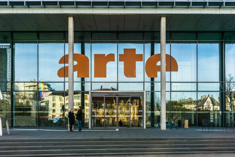 Le bâtiment d'ARTE, Strasbourg image stock