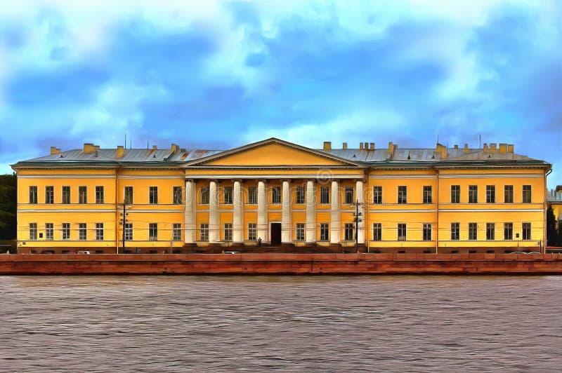 Le bâtiment de l'académie des sciences russe sur le remblai d'université à St Petersburg illustration libre de droits