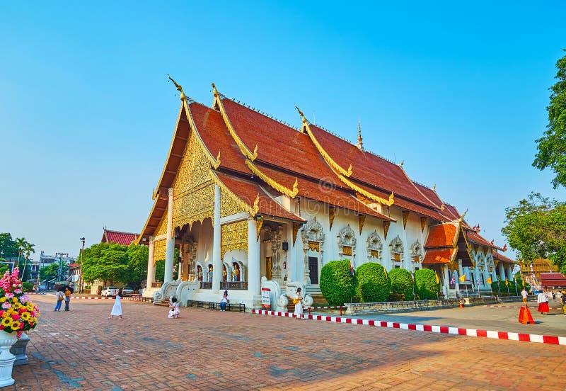 Le bâtiment de Phra Viharn Luang, Wat Chedi Luang, Chiang Mai, Thaïlande image libre de droits