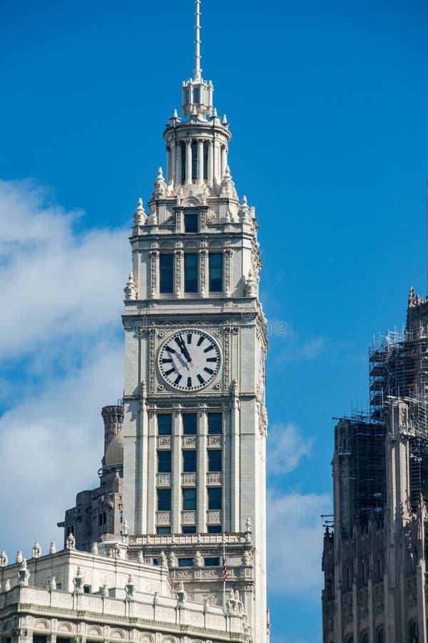 Le bâtiment de Wrigley, une des tours du bureau les plus célèbres de l'Amérique images libres de droits
