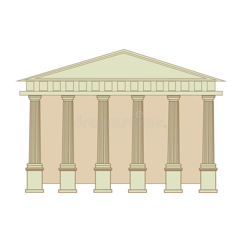 Le bâtiment du grec ancien et de Roman Temple avec des colonnes Illustration plate d'isolement de vecteur de bande dessinée illustration libre de droits