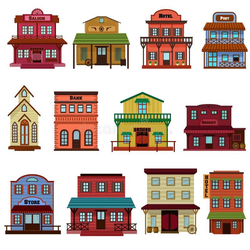 Le bâtiment occidental sauvage de vecteur de salle et les cowboys occidentaux logent ou barre dans l'illustration de rue d'une ma illustration de vecteur