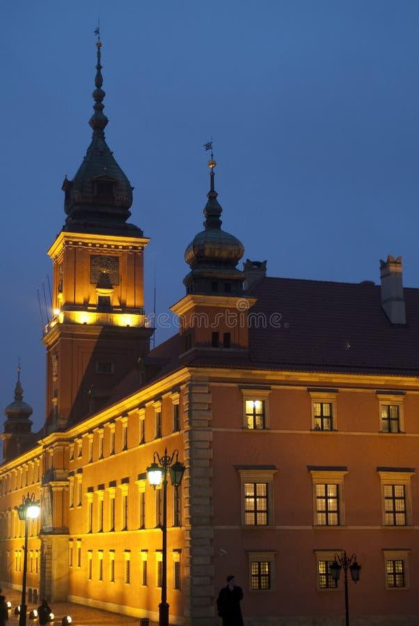 Le bâtiment royal de château la nuit, Varsovie, Pologne photos stock