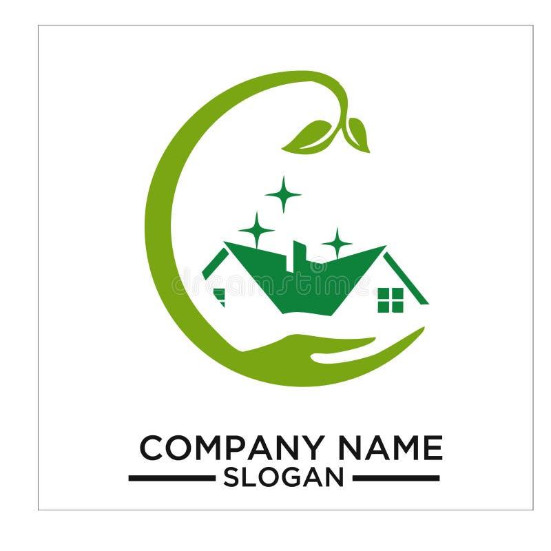 Le bâtiment vert, le vrai estateh, la maison et le logo et le vecteur de construction conçoivent illustration de vecteur