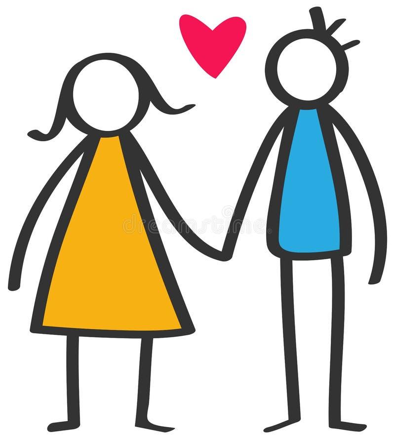 Le bâton coloré simple figure les couples heureux, homme, femme tenant des mains au coeur rouge d'amour d'isolement sur le fond b illustration stock