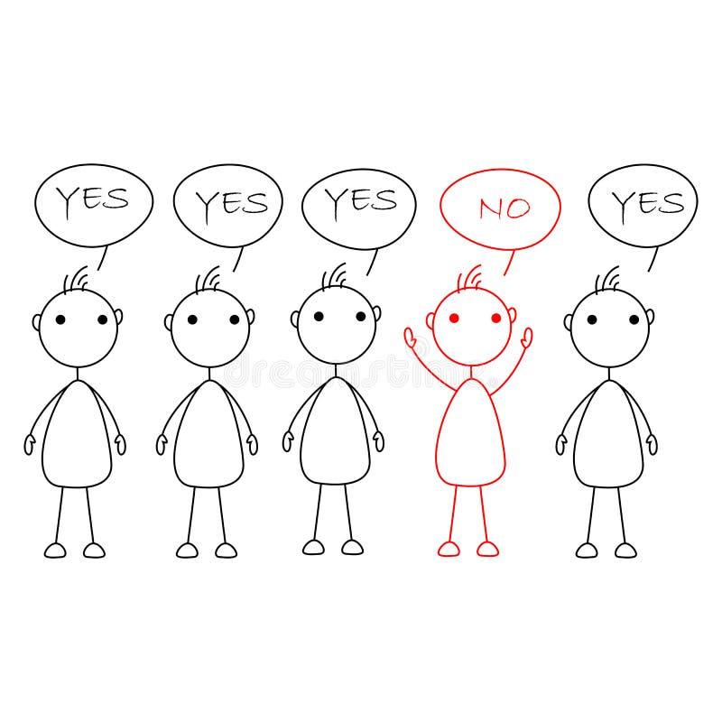 Le bâton de bande dessinée figure dire oui avec une personne disant non illustration libre de droits