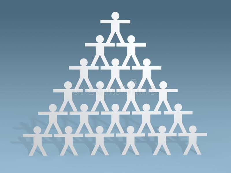 le bâton de personnes du papier 3d figure le concept de travail d'équipe illustration stock