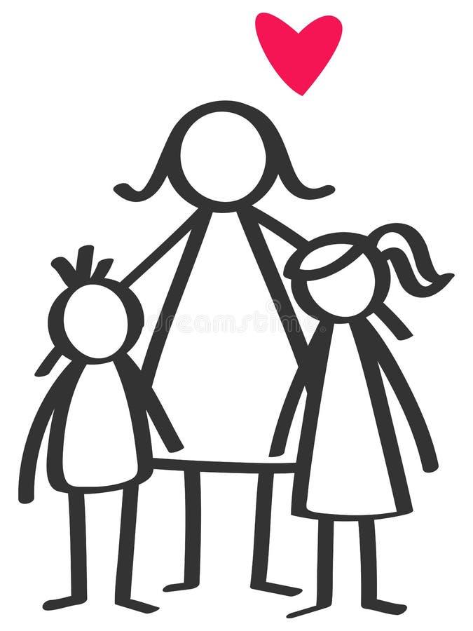 Le bâton simple figure le parent célibataire, mère, fils, fille, enfants illustration de vecteur