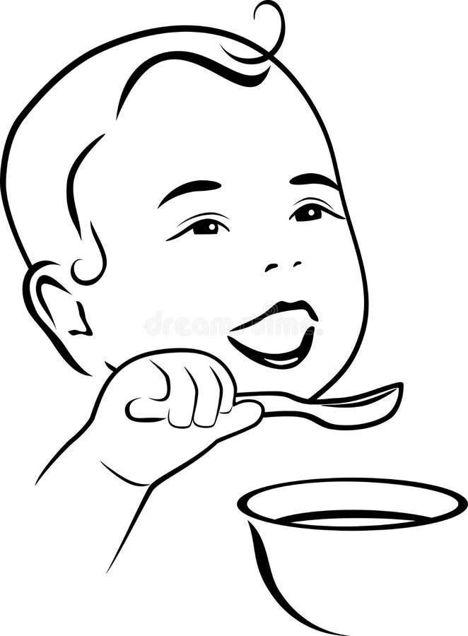 Le b b apprend manger avec une cuill re dessin de d coupe illustration de vecteur - Dessin manger ...