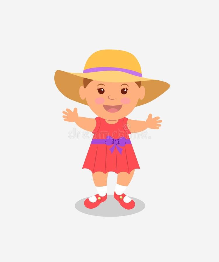 Le bébé apprend à marcher fille une robe et au Panama roses sur un fond clair illustration libre de droits