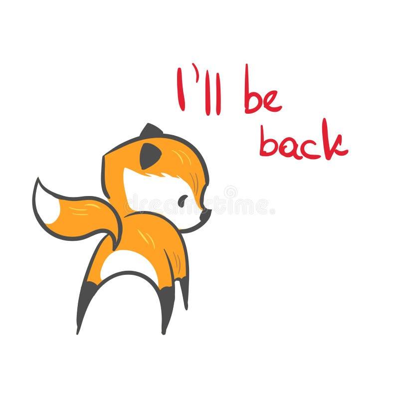 Le bébé de renard de caractère de vecteur soit de retour copie illustration stock