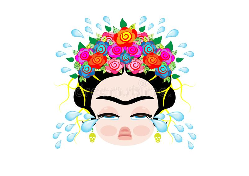 Le bébé Frida Kahlo d'Emoji à cray avec la couronne et des fleurs colorées, bébé pleure, vecteur d'isolement illustration libre de droits