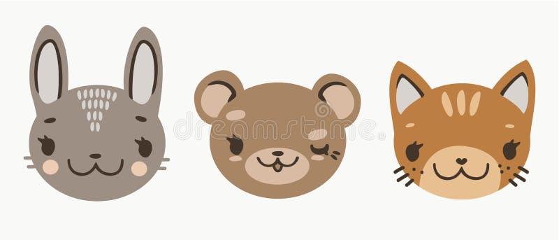 Le bébé mignon fait face des animaux de bande dessinée : chaton de lièvres d'ours illustration libre de droits