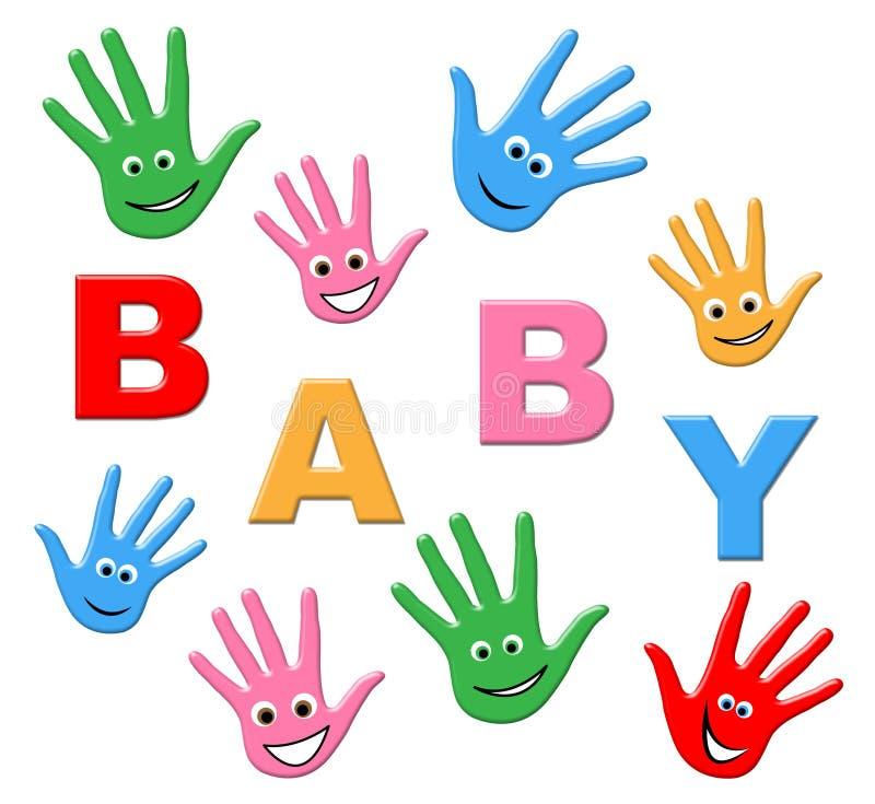 Le bébé nouveau-né veut dire les mains ensemble et le bras illustration stock