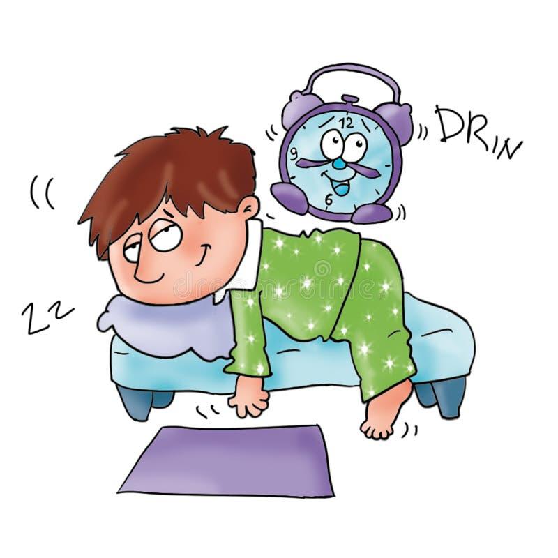 Le bébé se réveille, comique pour les enfants, aventure pour des garçons illustration stock