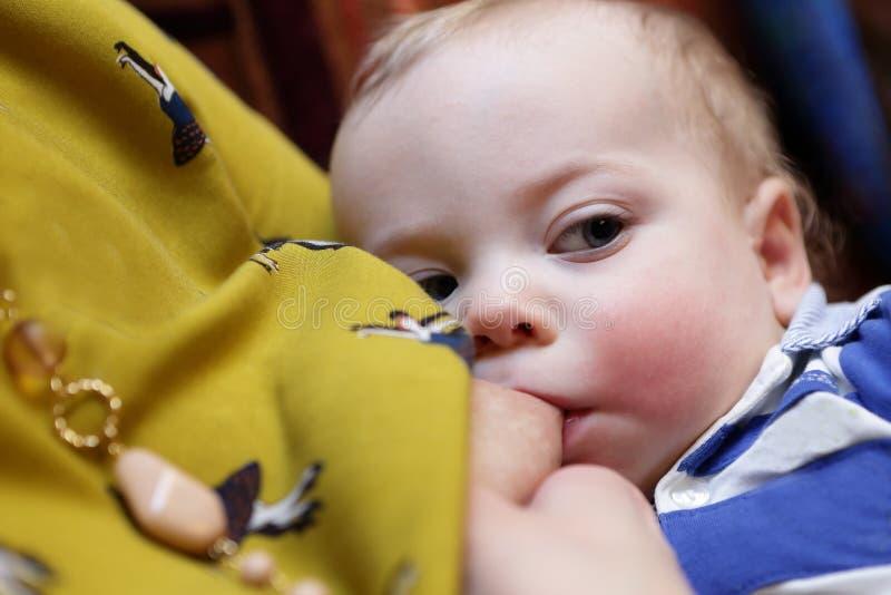 Le bébé suce le sein de la mère photos libres de droits