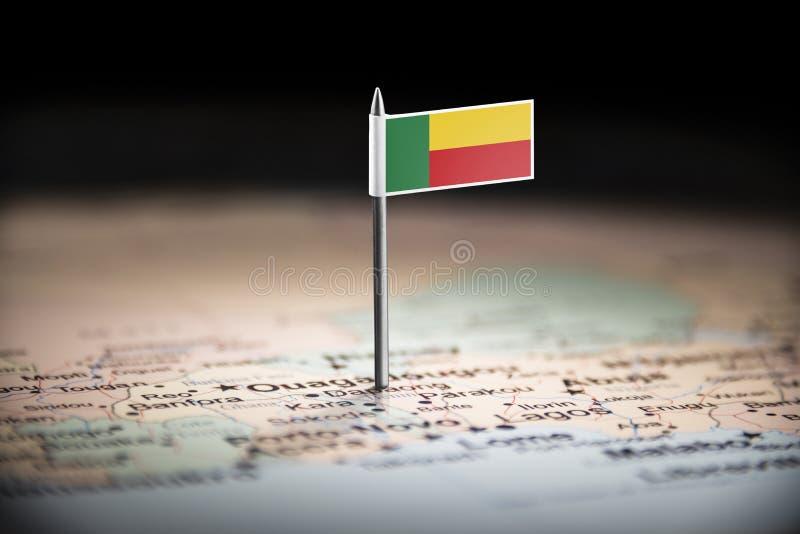Le Bénin a identifié par un drapeau sur la carte image libre de droits