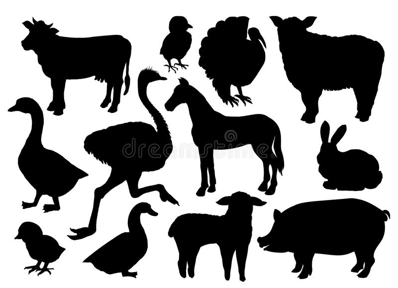 Le bétail d'animaux de ferme dirige des silhouettes illustration stock