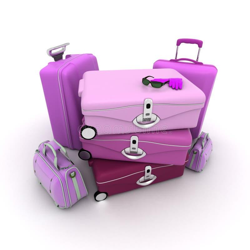 Le bagage de Madame illustration de vecteur