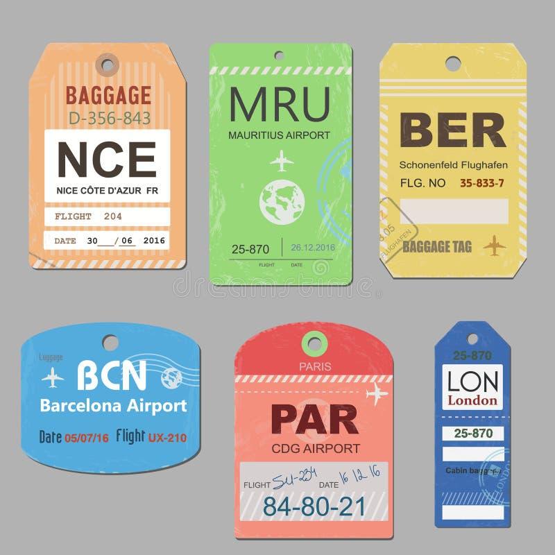 Le bagage de voyage de vintage étiquette le vecteur Rétro illustration d'étiquette de bagages illustration stock